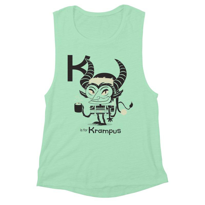 K is for Krampus Women's Muscle Tank by Hazy Dell Press