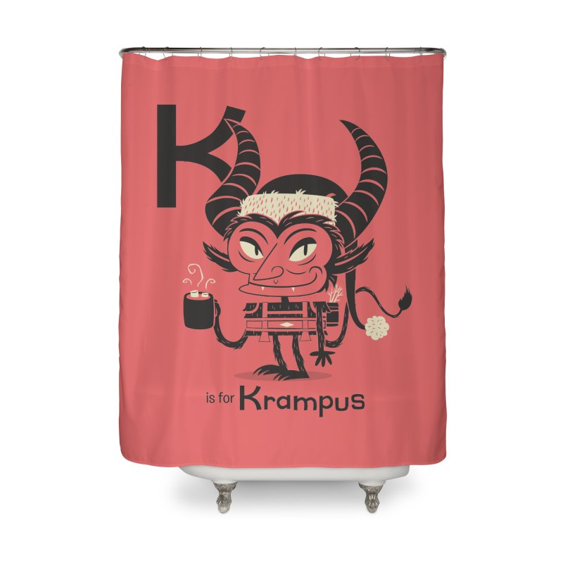 K is for Krampus Home Shower Curtain by Hazy Dell Press