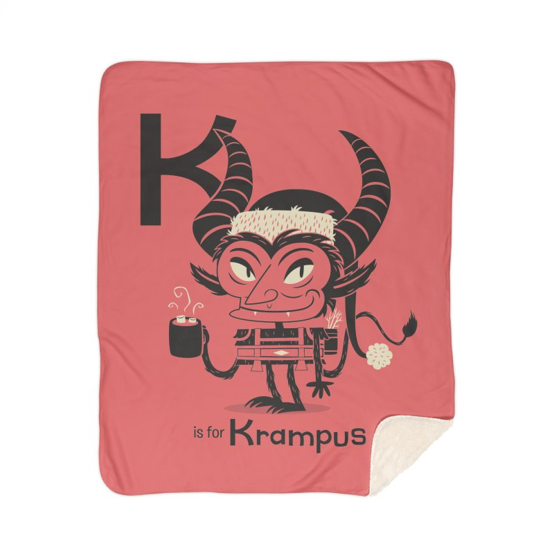 K is for Krampus Home Sherpa Blanket Blanket by Hazy Dell Press
