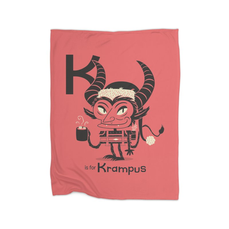 K is for Krampus Home Fleece Blanket Blanket by Hazy Dell Press