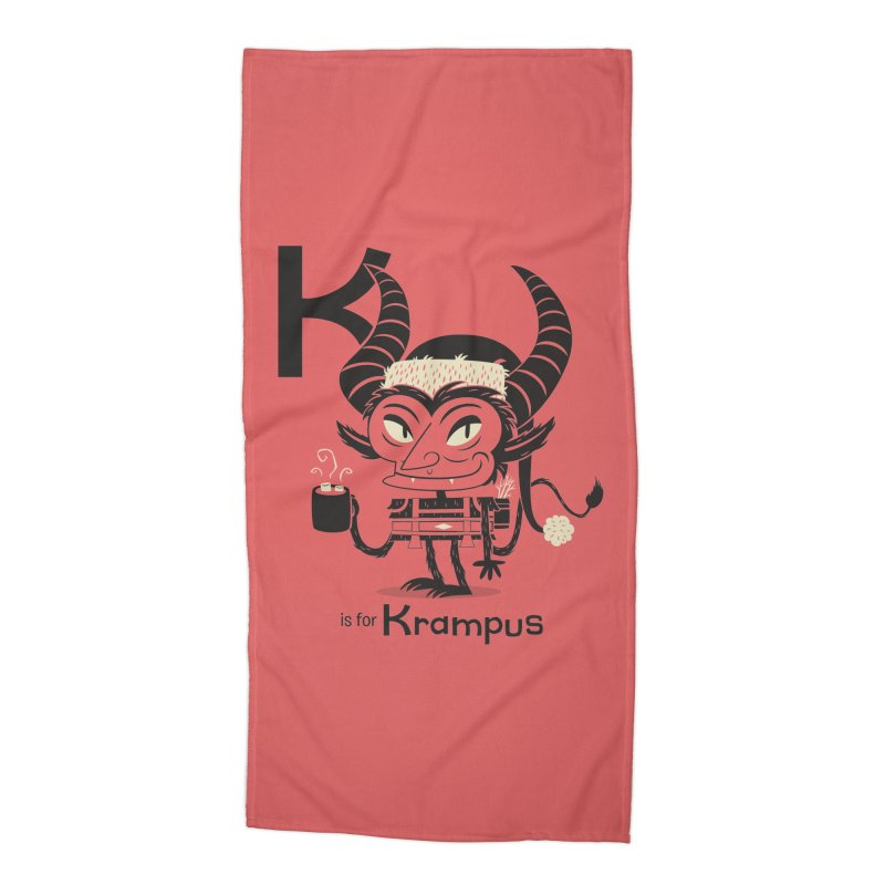K is for Krampus Accessories Beach Towel by Hazy Dell Press