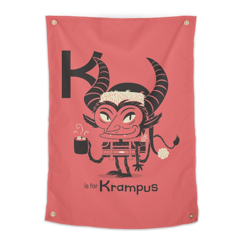K is for Krampus Home Tapestry by Hazy Dell Press