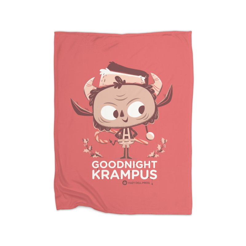 Goodnight Krampus Home Fleece Blanket Blanket by Hazy Dell Press