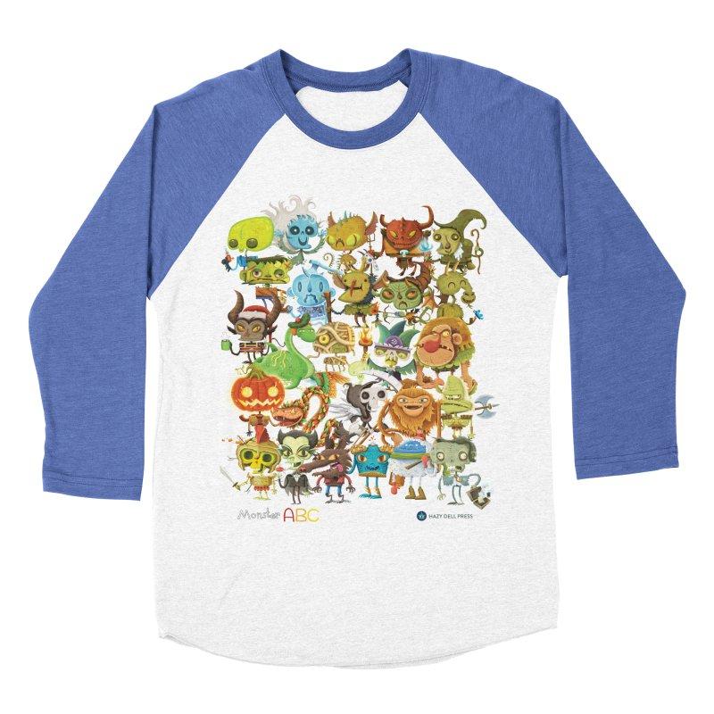 Monster ABC Men's Baseball Triblend Longsleeve T-Shirt by Hazy Dell Press