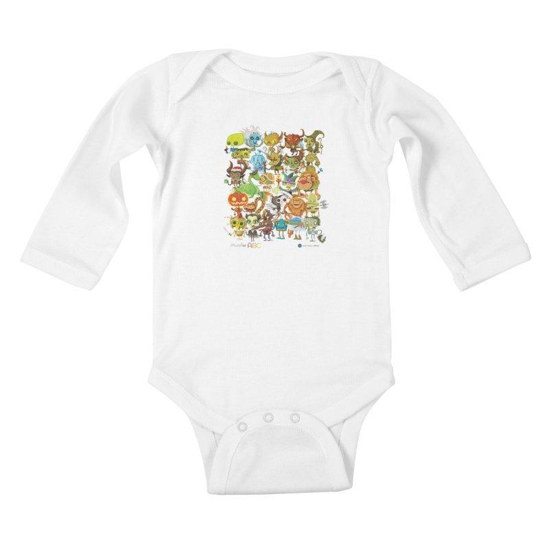 Monster ABC Kids Baby Longsleeve Bodysuit by Hazy Dell Press