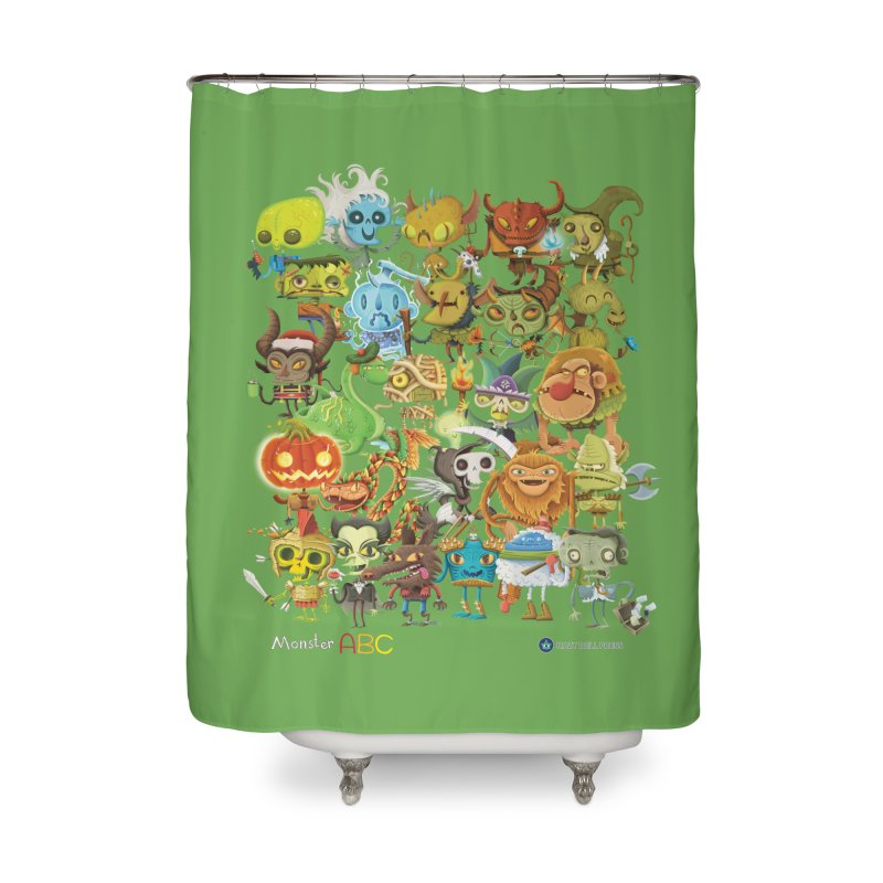 Monster ABC Home Shower Curtain by Hazy Dell Press