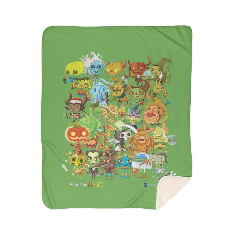 Monster ABC Home Sherpa Blanket Blanket by Hazy Dell Press