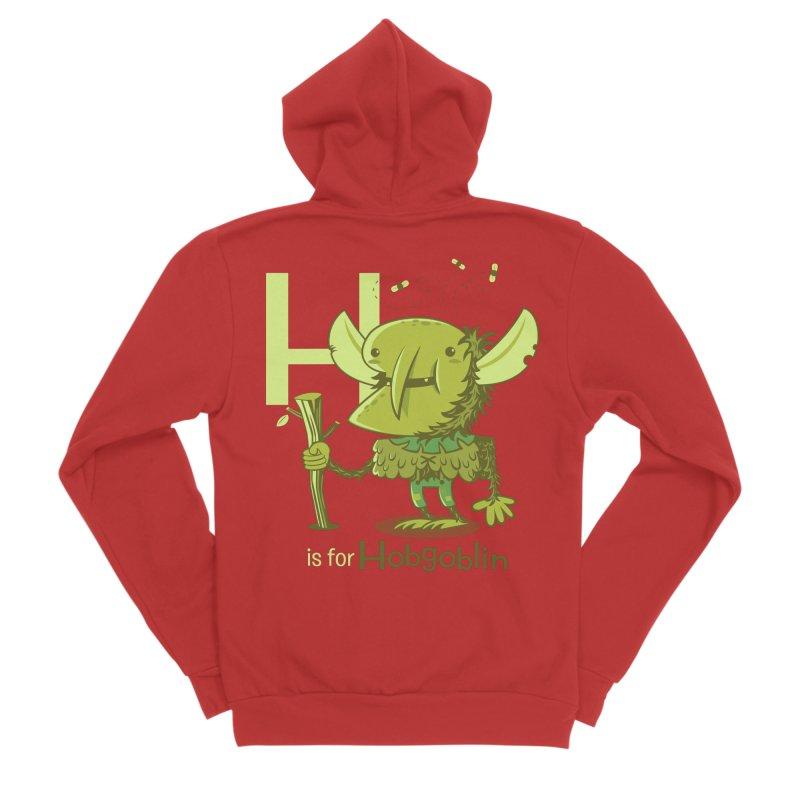 H is for Hobgoblin — No Fart Men's Sponge Fleece Zip-Up Hoody by Hazy Dell Press