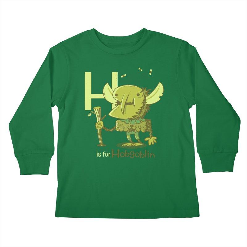H is for Hobgoblin — No Fart Kids Longsleeve T-Shirt by Hazy Dell Press