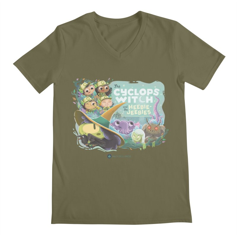 The Cyclops Witch and the Heebie-Jeebies Men's Regular V-Neck by Hazy Dell Press