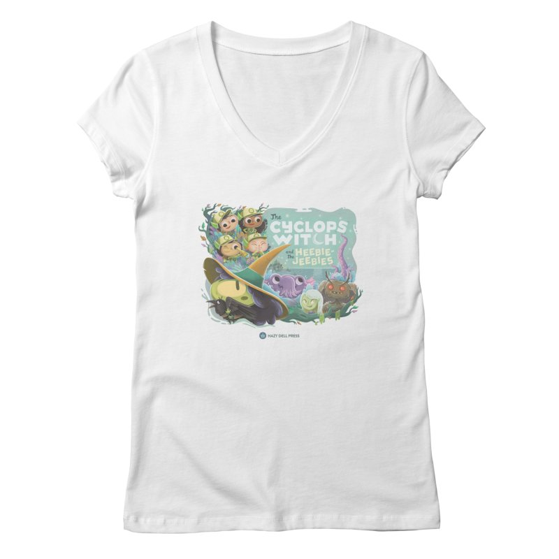 The Cyclops Witch and the Heebie-Jeebies Women's Regular V-Neck by Hazy Dell Press