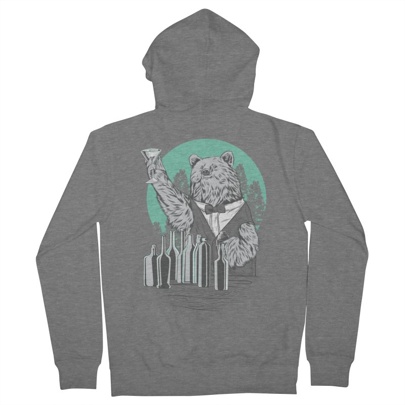 Beartender in green Men's French Terry Zip-Up Hoody by hd's Artist Shop