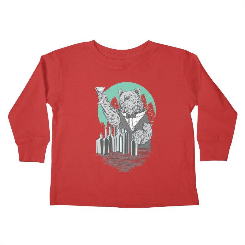 Beartender in green Kids Toddler Longsleeve T-Shirt by hd's Artist Shop