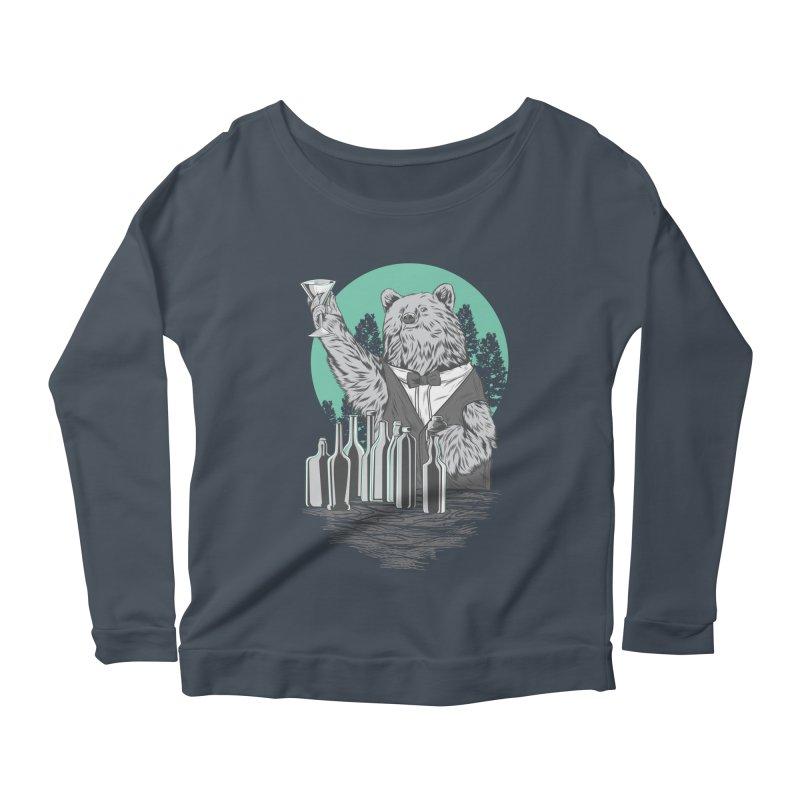 Beartender in green Women's Scoop Neck Longsleeve T-Shirt by hd's Artist Shop