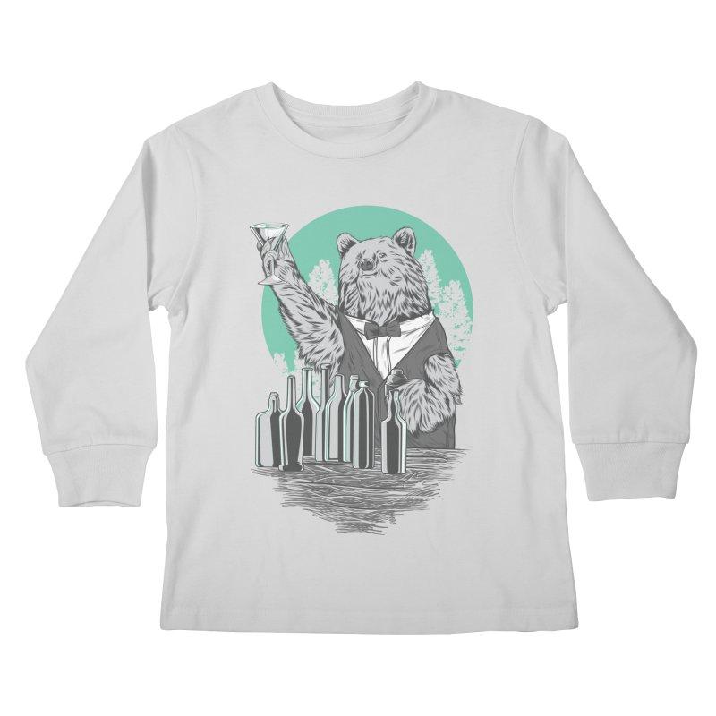 Beartender in green Kids Longsleeve T-Shirt by hd's Artist Shop
