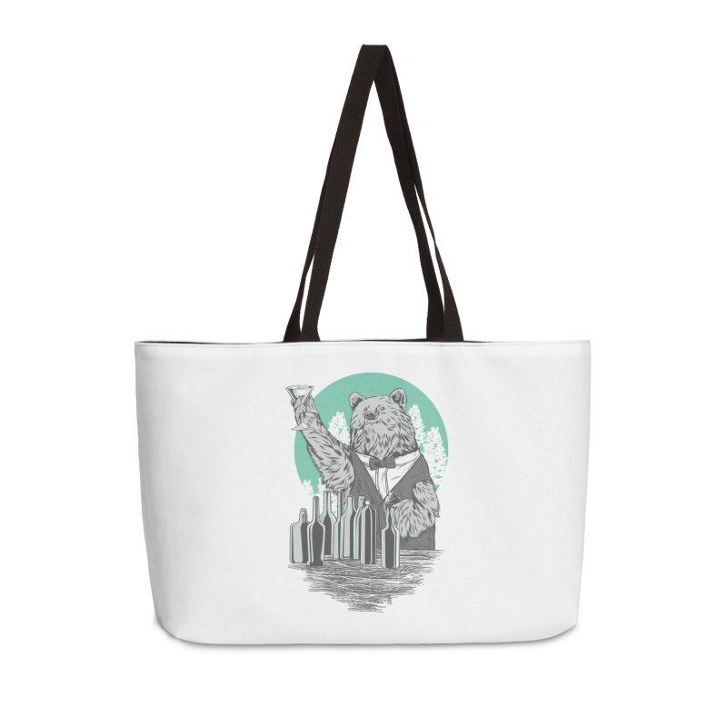 Beartender in green Accessories Weekender Bag Bag by hd's Artist Shop