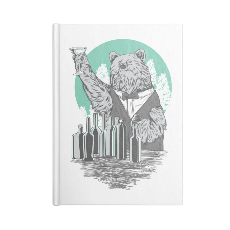 Beartender in green Accessories Notebook by hd's Artist Shop