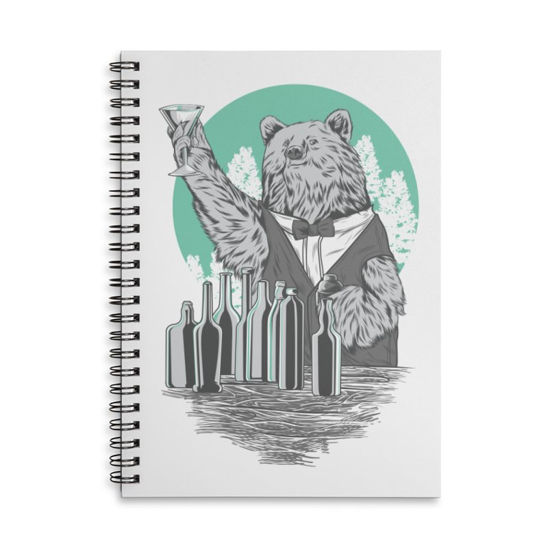 Beartender in green Accessories Lined Spiral Notebook by hd's Artist Shop