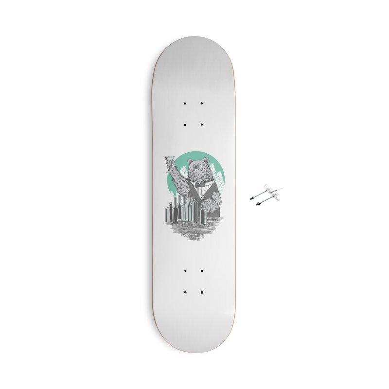 Beartender in green Accessories Skateboard by hd's Artist Shop