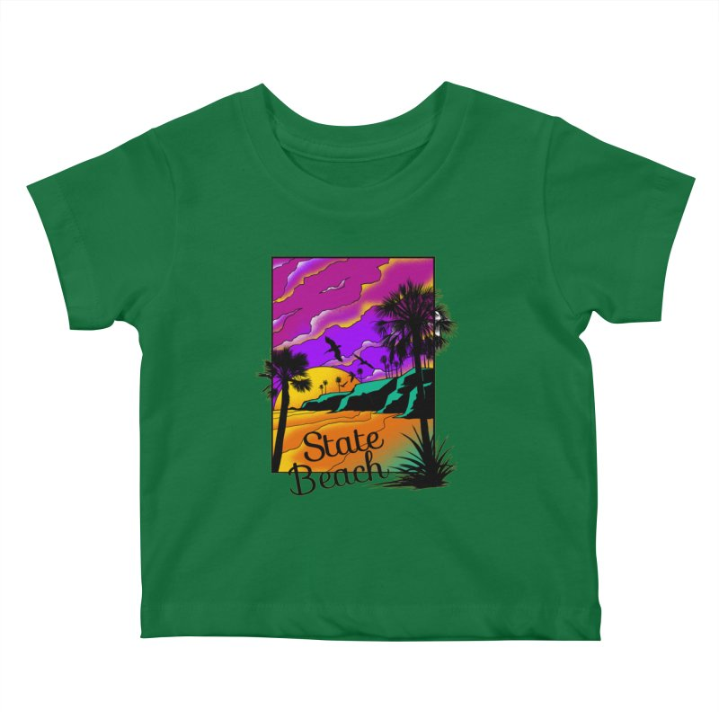 sunset and beach Kids Baby T-Shirt by hd's Artist Shop