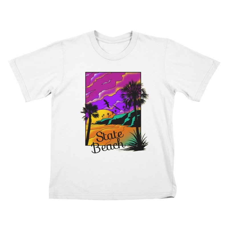 sunset and beach Kids T-Shirt by hd's Artist Shop