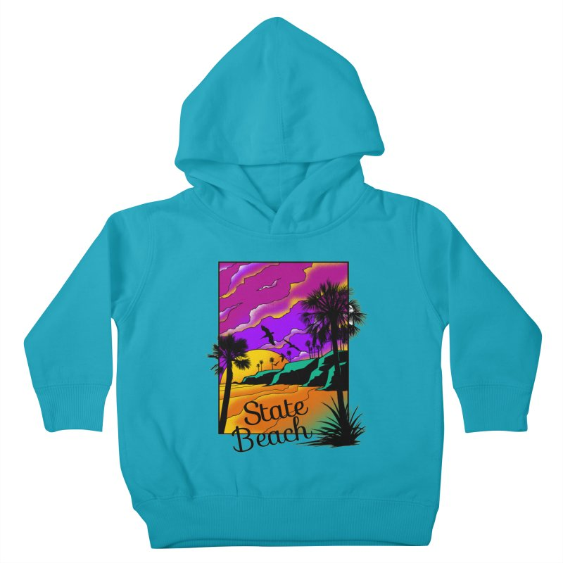 sunset and beach Kids Toddler Pullover Hoody by hd's Artist Shop