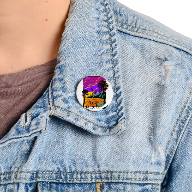 sunset and beach Accessories Button by hd's Artist Shop