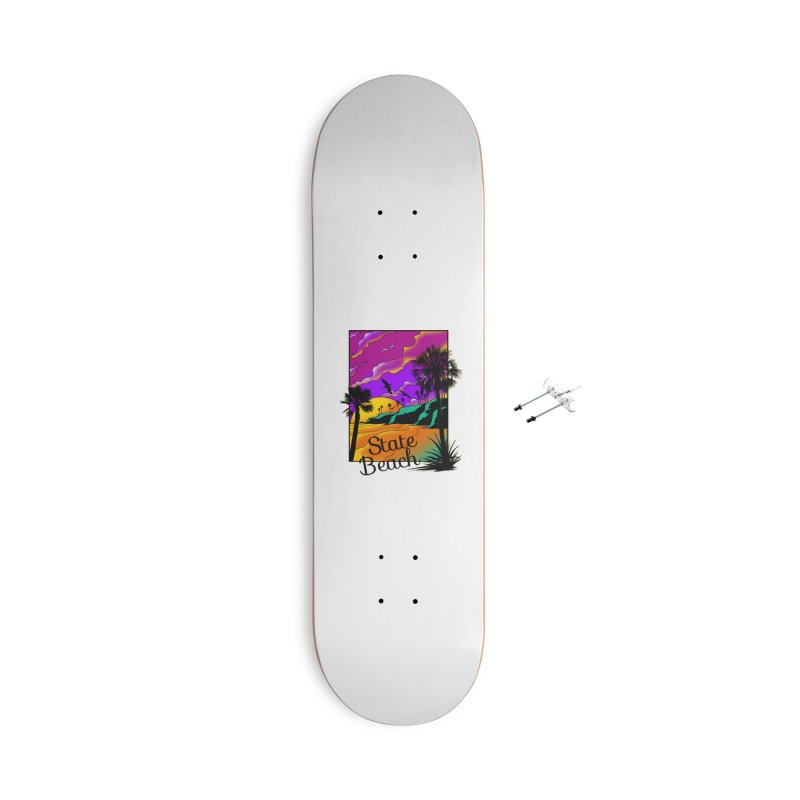 sunset and beach Accessories With Hanging Hardware Skateboard by hd's Artist Shop
