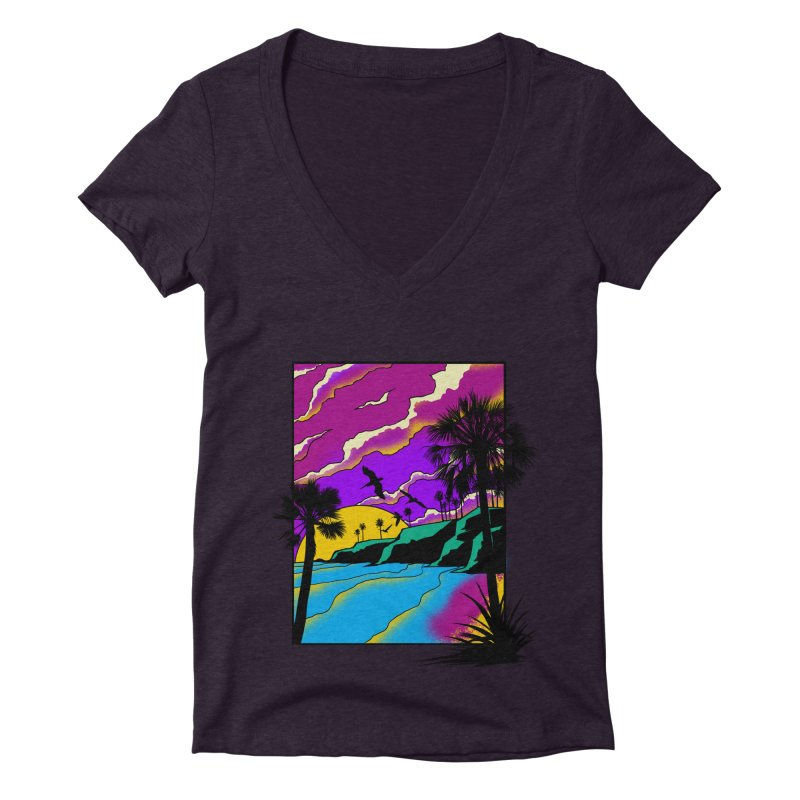 sunset and beach Women's Deep V-Neck V-Neck by hd's Artist Shop
