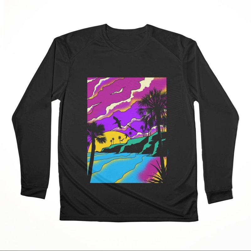 sunset and beach Men's Performance Longsleeve T-Shirt by hd's Artist Shop