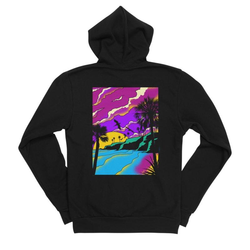 sunset and beach Men's Sponge Fleece Zip-Up Hoody by hd's Artist Shop