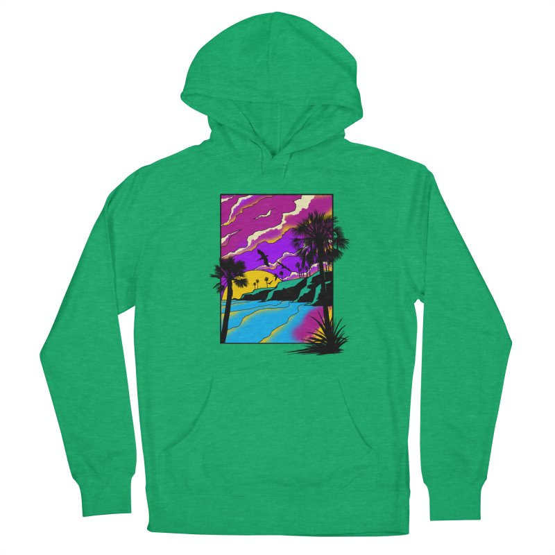 sunset and beach Men's French Terry Pullover Hoody by hd's Artist Shop