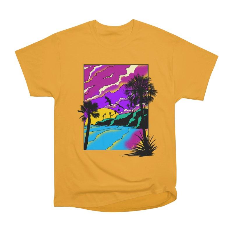 sunset and beach Women's Heavyweight Unisex T-Shirt by hd's Artist Shop