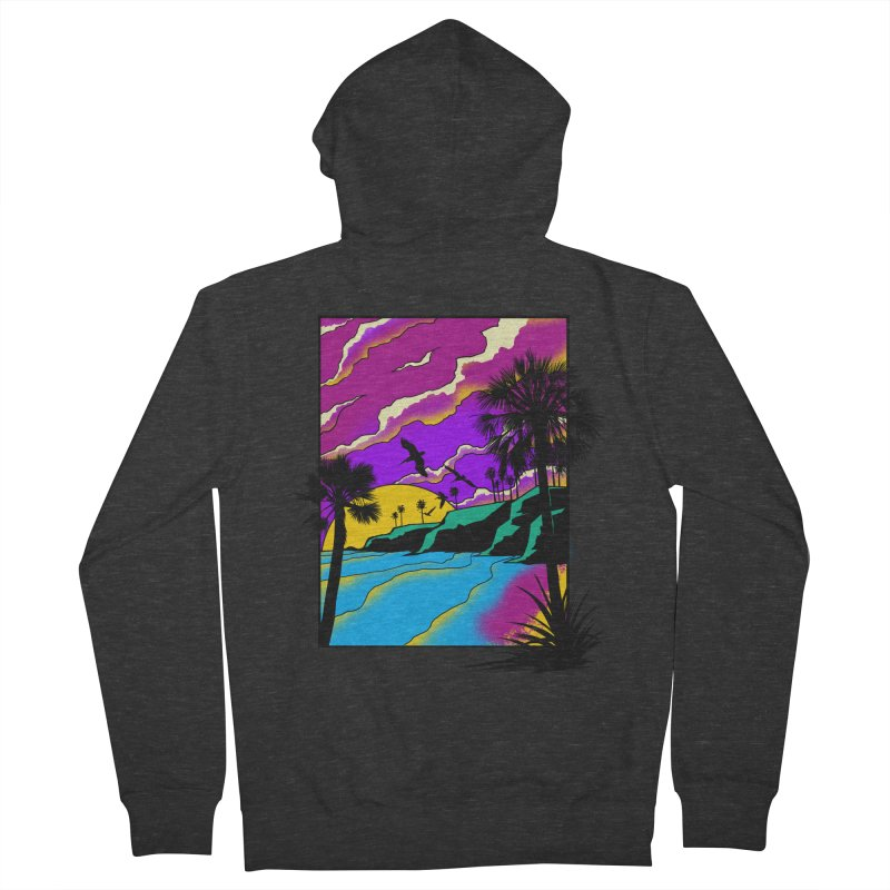 sunset and beach Women's French Terry Zip-Up Hoody by hd's Artist Shop