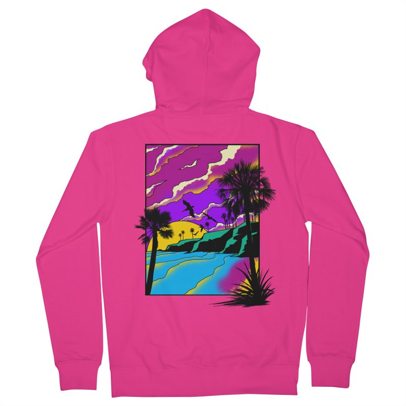 sunset and beach Men's French Terry Zip-Up Hoody by hd's Artist Shop