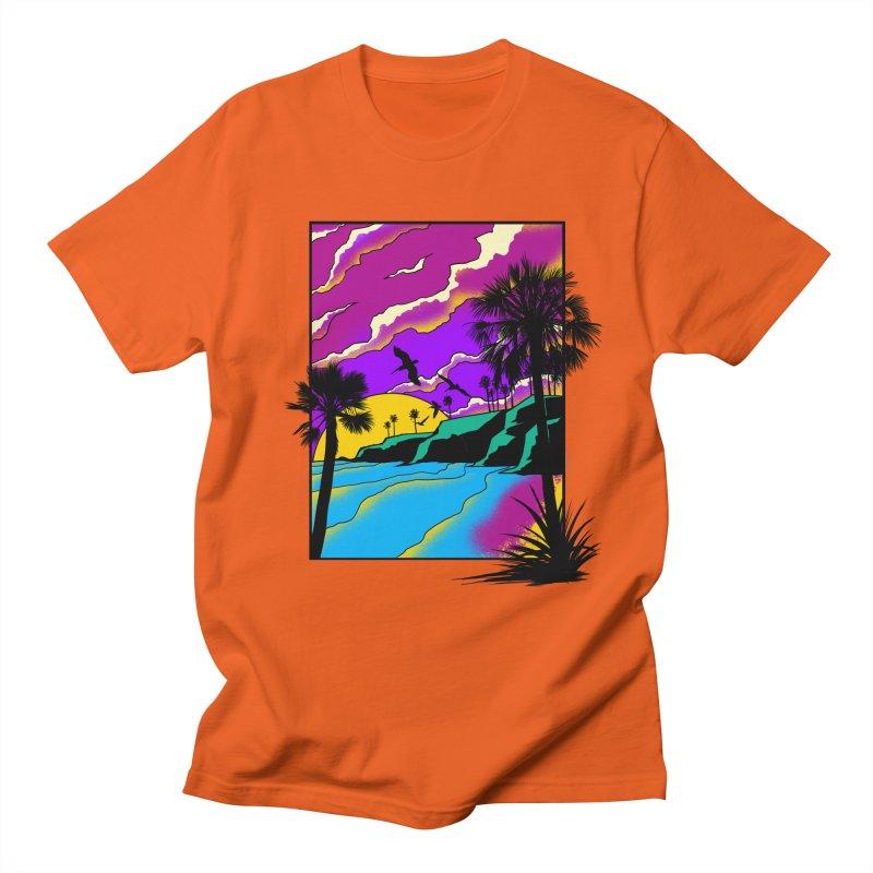 sunset and beach Men's Regular T-Shirt by hd's Artist Shop