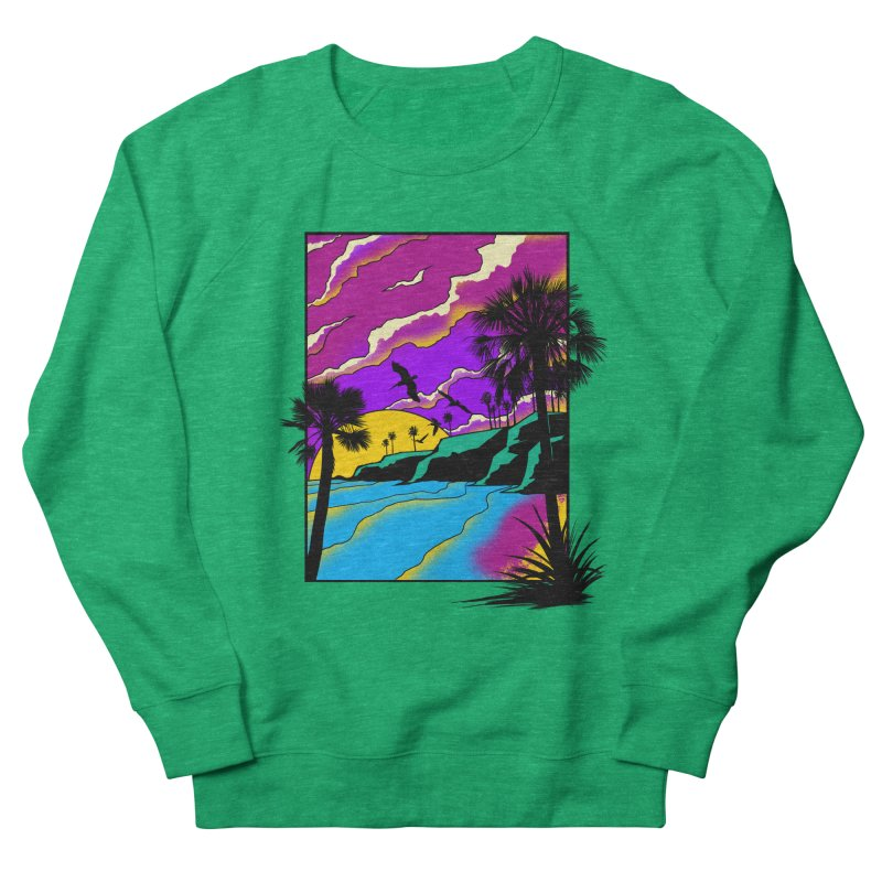 sunset and beach Women's French Terry Sweatshirt by hd's Artist Shop