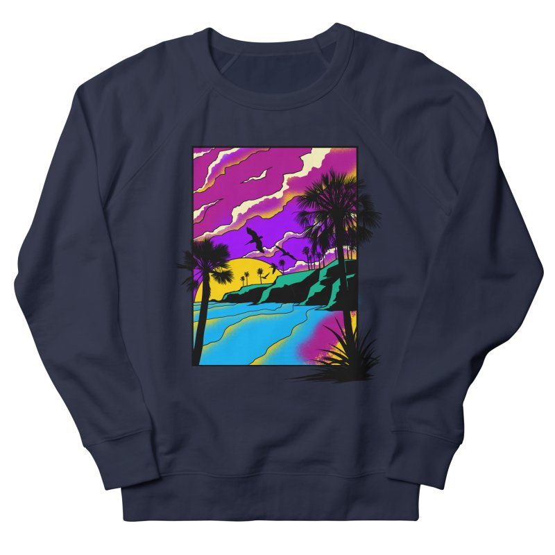 sunset and beach Men's French Terry Sweatshirt by hd's Artist Shop
