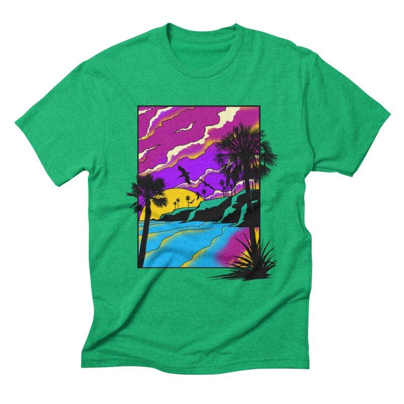 sunset and beach Men's Triblend T-Shirt by hd's Artist Shop