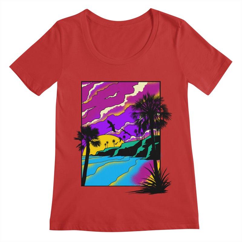 sunset and beach Women's Regular Scoop Neck by hd's Artist Shop