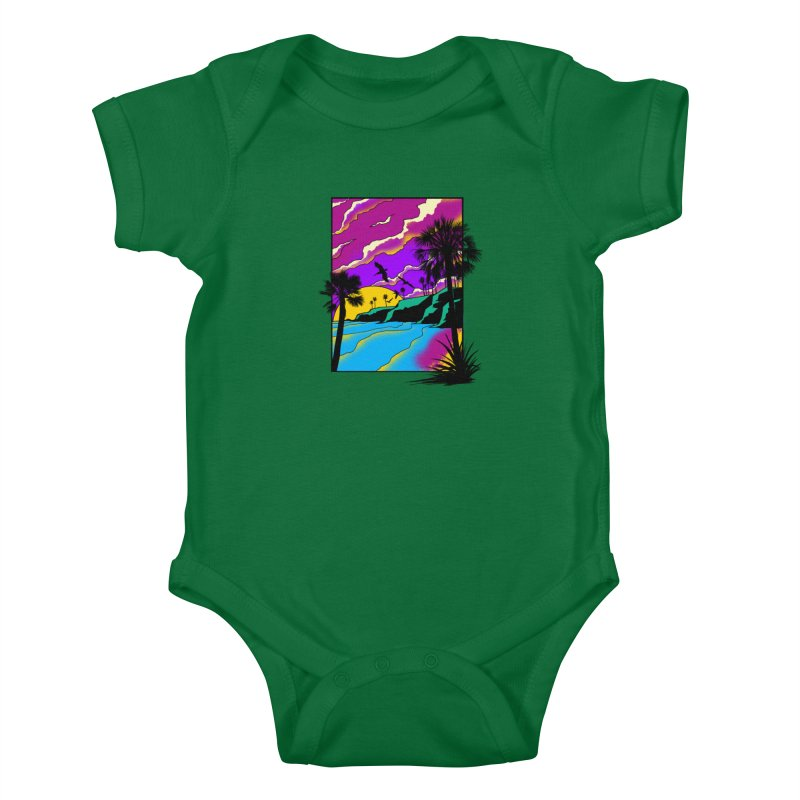 sunset and beach Kids Baby Bodysuit by hd's Artist Shop