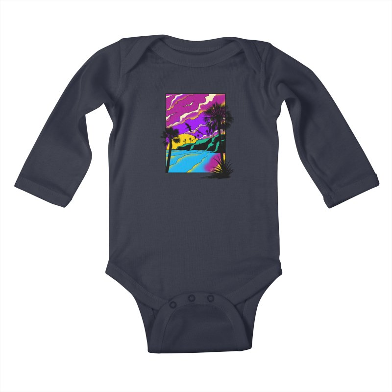 sunset and beach Kids Baby Longsleeve Bodysuit by hd's Artist Shop