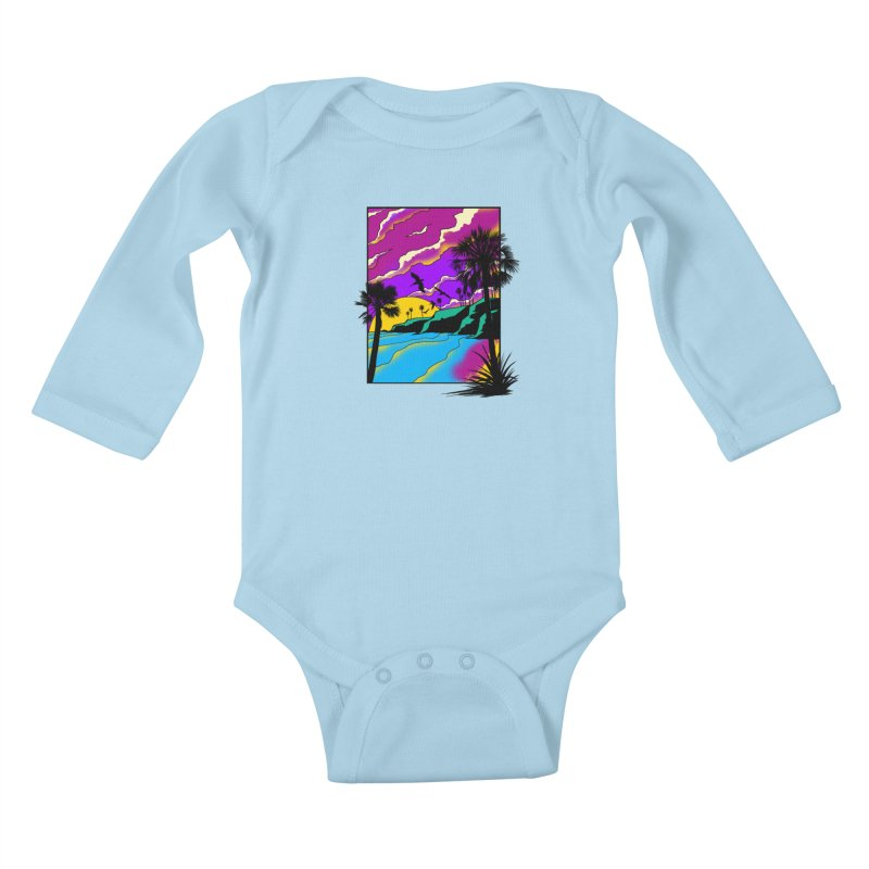 sunset and beach Kids Baby Longsleeve Bodysuit by hd's Artist Shop