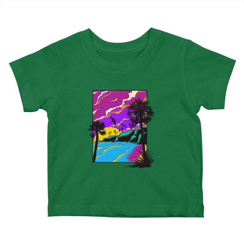 sunset and beach Kids Baby T-Shirt by hd's Artist Shop
