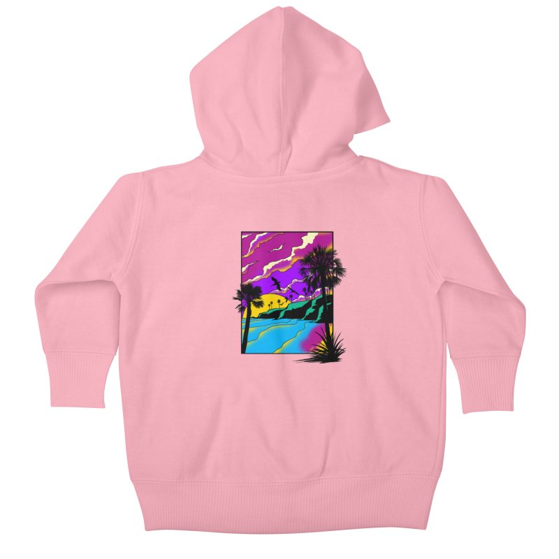 sunset and beach Kids Baby Zip-Up Hoody by hd's Artist Shop