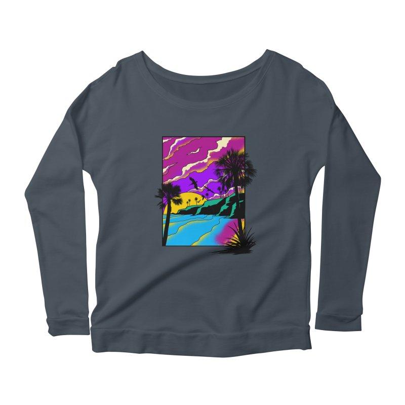 sunset and beach Women's Scoop Neck Longsleeve T-Shirt by hd's Artist Shop