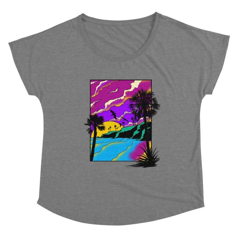 sunset and beach Women's Dolman Scoop Neck by hd's Artist Shop