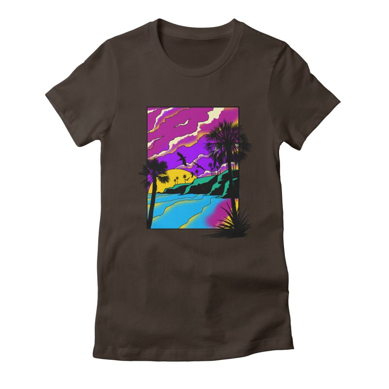 sunset and beach Women's Fitted T-Shirt by hd's Artist Shop