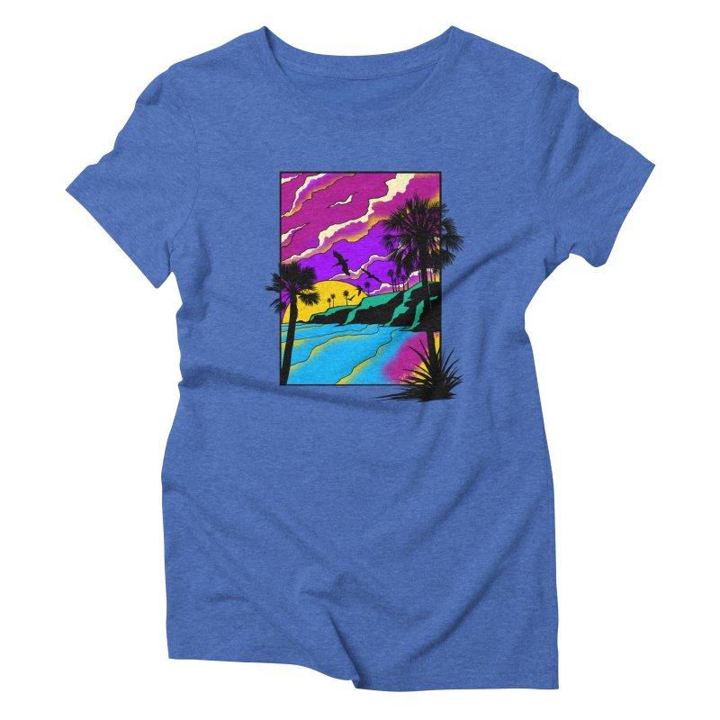 sunset and beach Women's Triblend T-Shirt by hd's Artist Shop