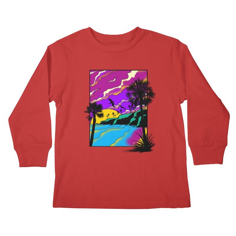 sunset and beach Kids Longsleeve T-Shirt by hd's Artist Shop
